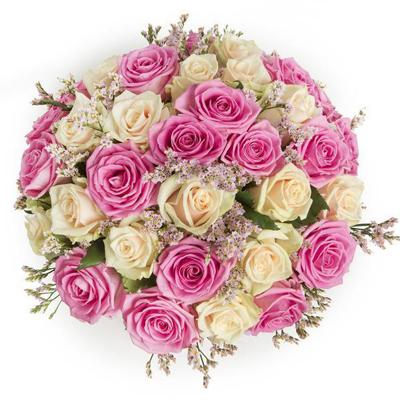 دسته گل رز سفید و صورتی-ارسال هدیه به کانادا
