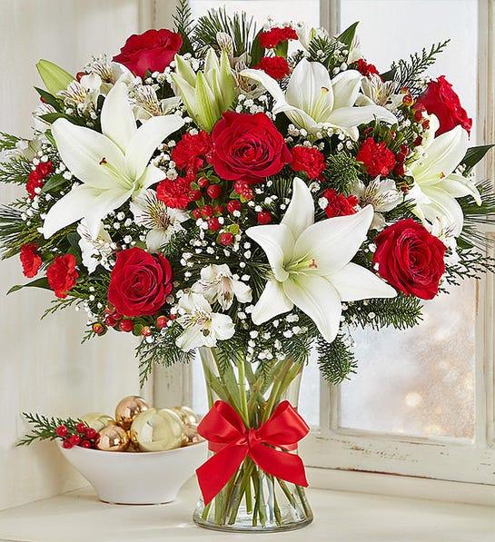 ارسال گل به آمریکا- ارسال هدیه به آمریکا - دسته گل تبریک کریسمس- دسته گل تبریک سال نو میلادی- دسته گل زمستانی