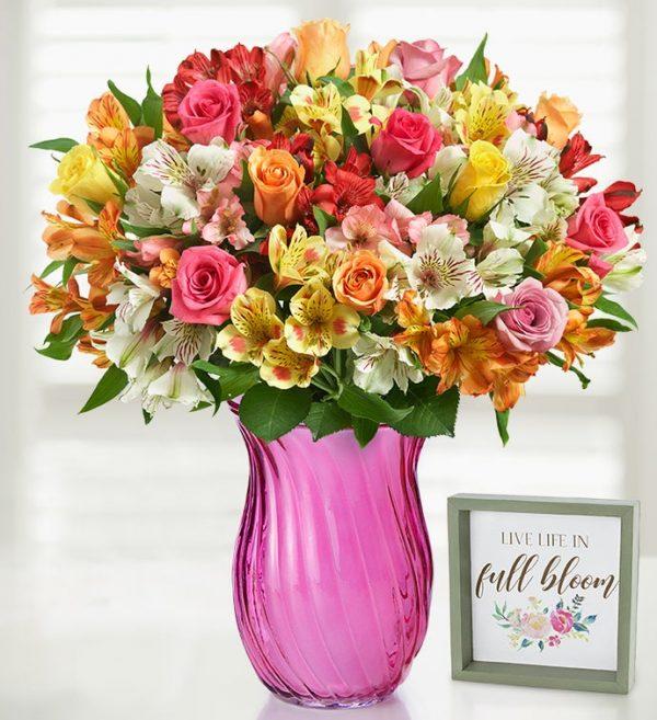 گلدان رز و لیلیوم-ارسال گل به آمریکا - ارسال هدیه به امریکا