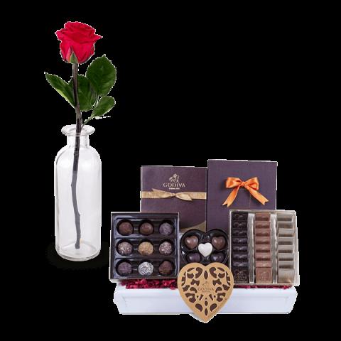 ارسال هدیه به ایتالیا- ارسال گل به ایتالیا-تبریک- ولنتاین- سبد شکلات- پکیج شکلات - شکلات گدیوا- شکلات دست ساز - ترافل-رز