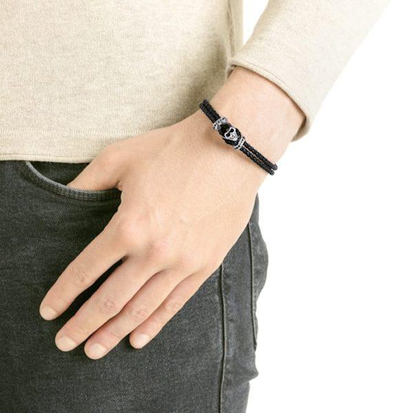 ارسال هدیه به ایتالیا- خرید دستبند مردانه - دستبند چرم مشکی مردانه سواروسکی